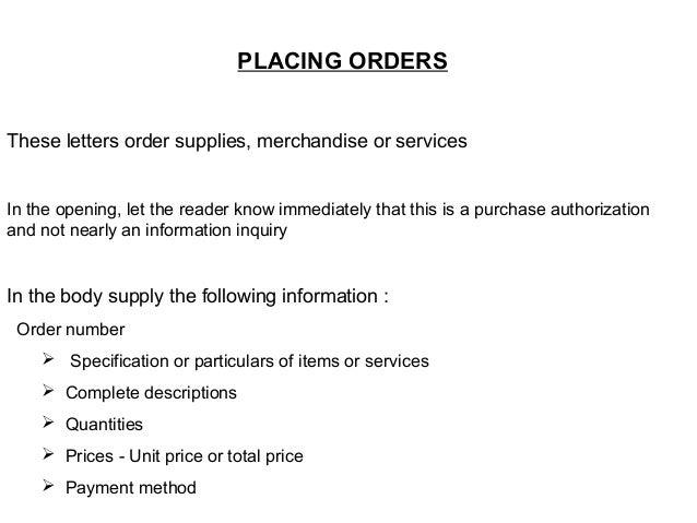 letter orders
