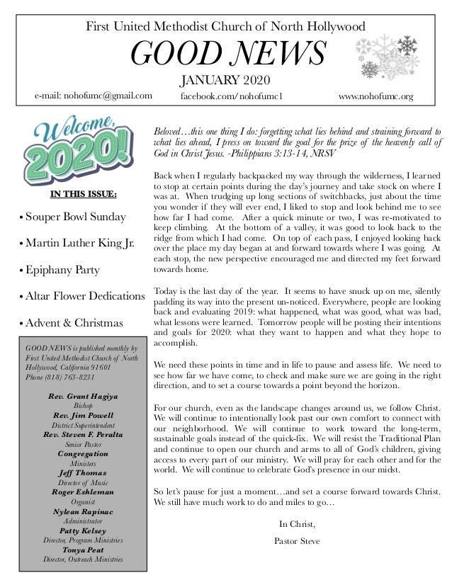 First United Methodist Church of North Hollywood GOOD NEWS e-mail: nohofumc@gmail.com JANUARY 2020 facebook.com/nohofumc1 ...
