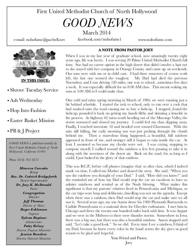 First United Methodist Church of North Hollywood  GOOD NEWS March 2014  e-mail: nohofumc@pacbell.net  IN THIS ISSUE:  • Sh...