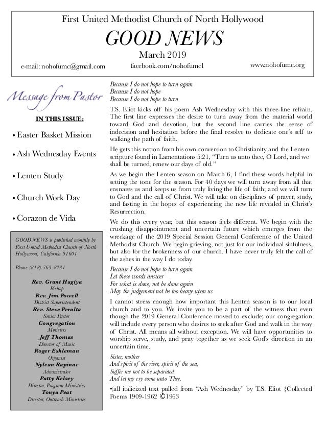 First United Methodist Church of North Hollywood GOOD NEWS e-mail: nohofumc@gmail.com March 2019 facebook.com/nohofumc1 ww...