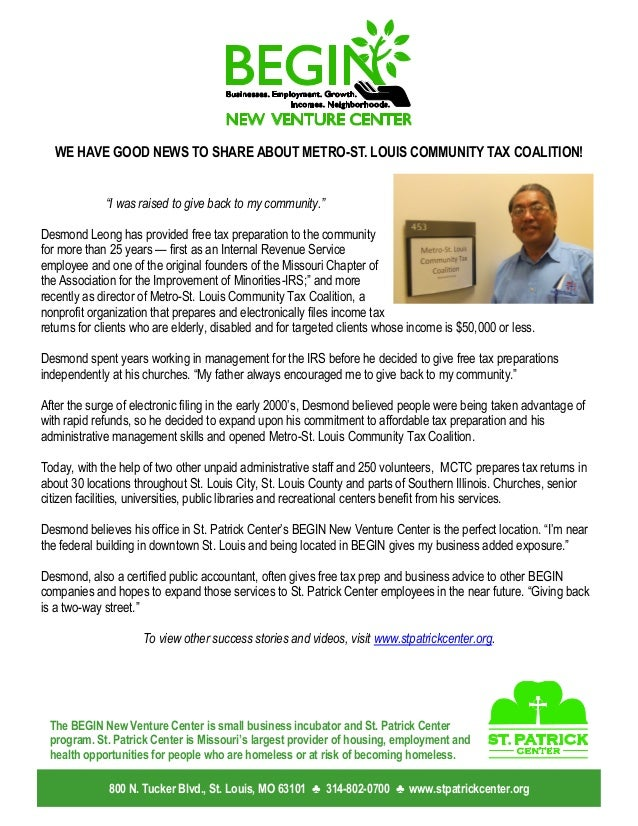 """WE HAVE GOOD NEWS TO SHARE ABOUT METRO-ST. LOUIS COMMUNITY TAX COALITION! """"I was raised to give back to my community."""" Des..."""