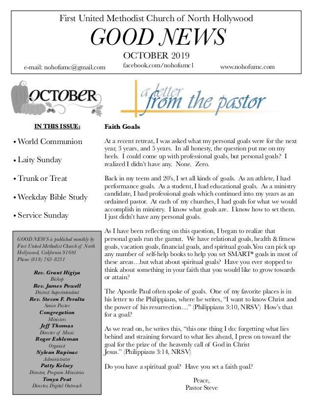 First United Methodist Church of North Hollywood GOOD NEWS e-mail: nohofumc@gmail.com OCTOBER 2019 facebook.com/nohofumc1 ...