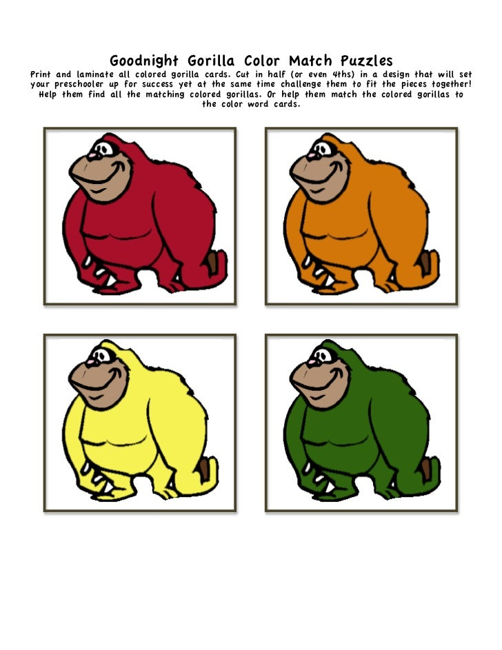 5 Goodnight Gorilla Color Match PuzzlesPrint