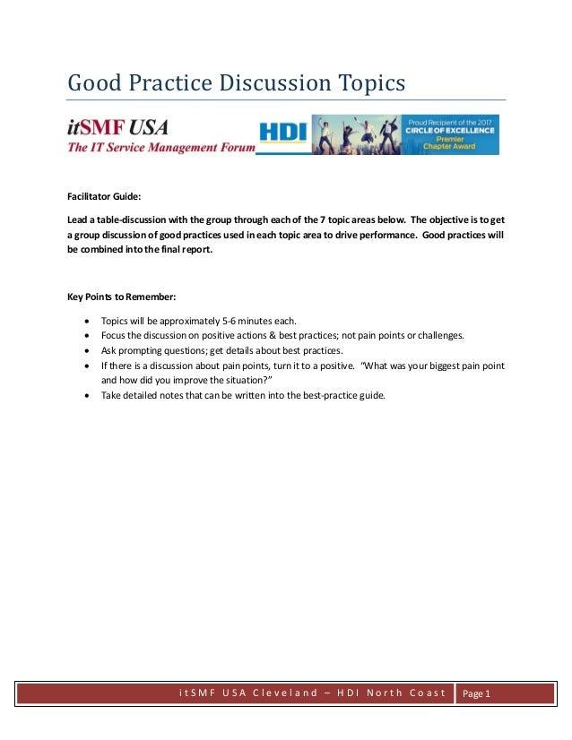 i t S M F U S A C l e v e l a n d – H D I N o r t h C o a s t Page 1 Good Practice Discussion Topics Facilitator Guide: Le...
