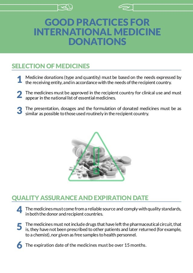 GOOD PRACTICES FOR INTERNATIONAL MEDICINE DONATIONS SELECTION OF MEDICINES Medicine donations (type and quantity) must be ...