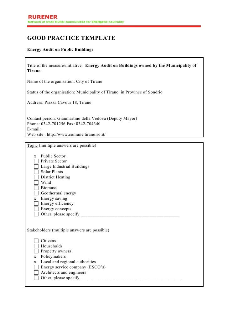 GOOD PRACTICE TEMPLATE Energy Audit on Public Buildings   Title of the measure/initiative: Energy Audit on Buildings owned...