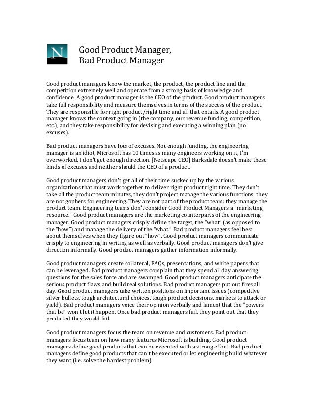 Good  Product  Manager,   Bad  Product  Manager   Good  product  managers  know  the  market,  t...