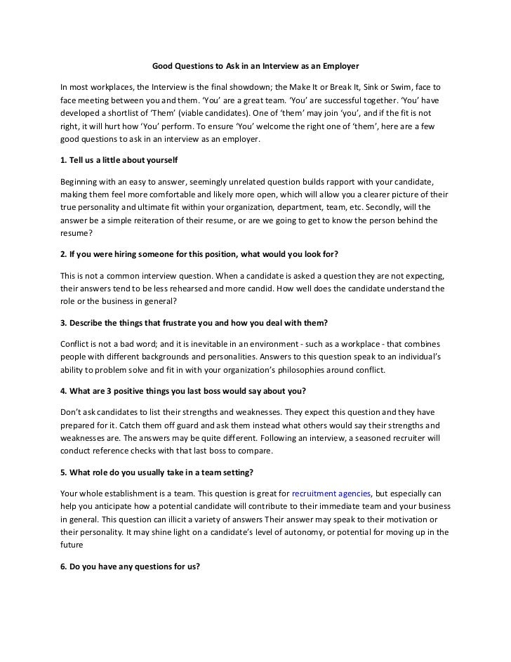 interview templates for employers - good questions to ask in an interview as an employer