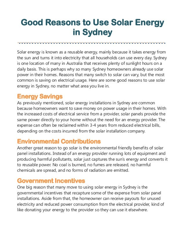 Good Reasons To Use Solar Energy In Sydney