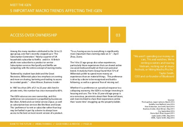 BANK TO THE FUTURE // #REBELTHINKING // GOOD REBELS & REEVOO // PAGE 26 MEET THE iGEN 5 IMPORTANT MACRO TRENDS AFFECTING T...