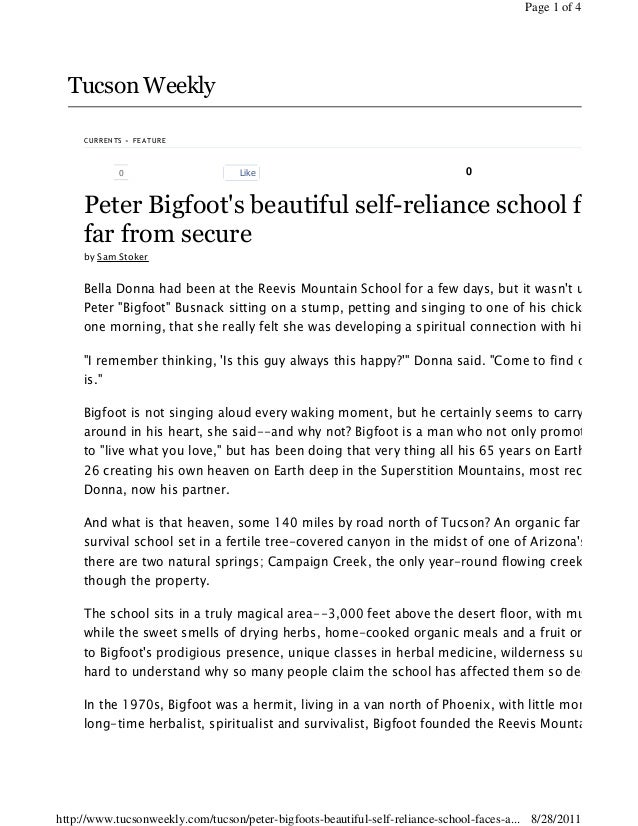 Tucson Weekly 0 Like 0 CURRENTS » FEATURE Peter Bigfoot's beautiful self-reliance school faces a far from secure by Sam St...
