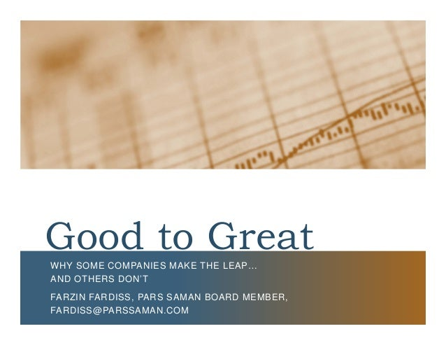 "summary of good to great In this getabstract summary, you will learn: which companies meet the criteria for being great and what that entails, what the tenets of the ""good-to-great"" business model are, and how to."