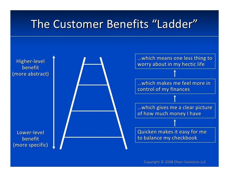 "TheCustomerBenefits""Ladder""                            …whichmeansonelessthingto   Higher‐level                  ..."