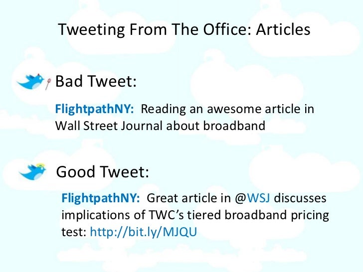 Tweeting From The Office: Articles  Bad Tweet: FlightpathNY: Reading an awesome article in Wall Street Journal about broad...