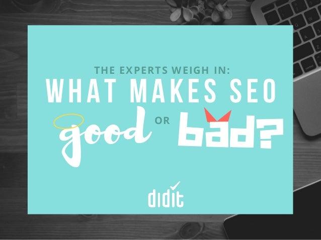 W H A T M A K E S S E O THE EXPERTS WEIGH IN: goodOR bad?