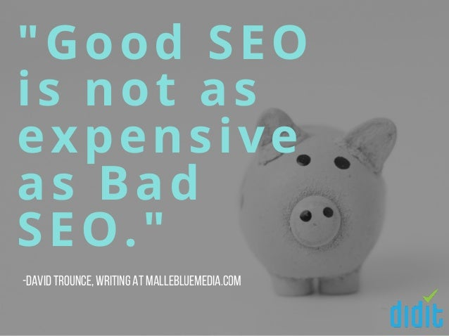 """Good SEO is not as expensive as Bad SEO."" -David Trounce,writing at MalleBlueMedia.com"
