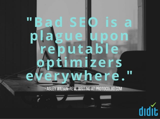 """""""Bad SEO is a plague upon reputable optimizers everywhere."""" -AsleyWilson-Rew,writing at Protocol80.com"""