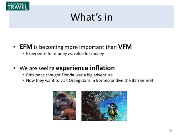 15 What's in • EFM is becoming more important than VFM • Experience for money vs. value for money • We are seeing experien...