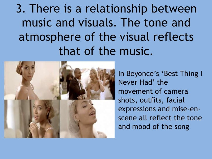 3. There is a relationship between music and visuals. The tone and atmosphere of the visual reflects that of the music.<br...