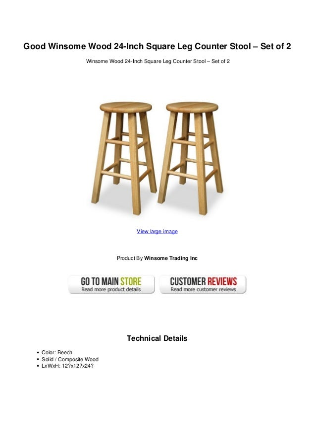 Good Winsome Wood 24-Inch Square Leg Counter Stool – Set of 2Winsome Wood 24-Inch Square Leg Counter Stool – Set of 2View ...