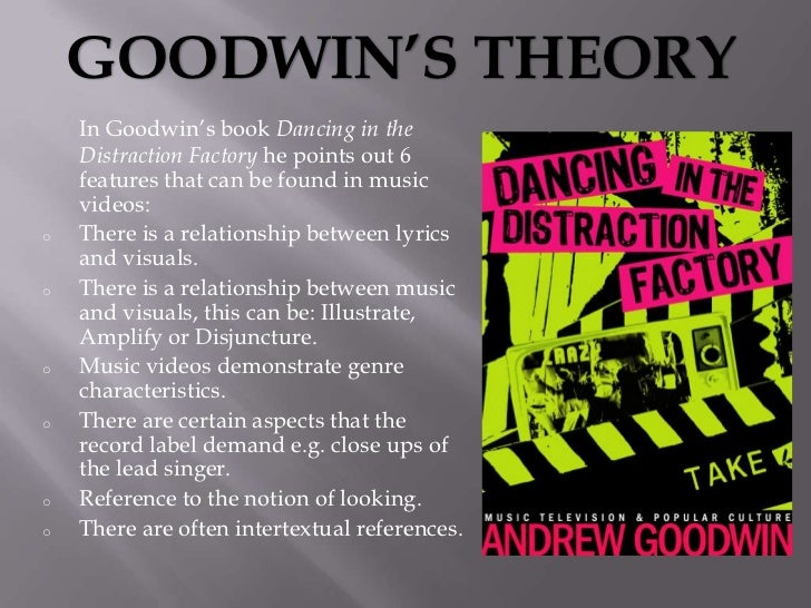 """GOODWIN'S THEORY    In Goodwin""""s book Dancing in the    Distraction Factory he points out 6    features that can be found ..."""