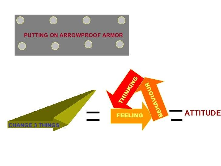 PUTTING ON ARROWPROOF ARMOR CHANGE 3 THINGS BEHAVIOUR THINKING FEELING ATTITUDE