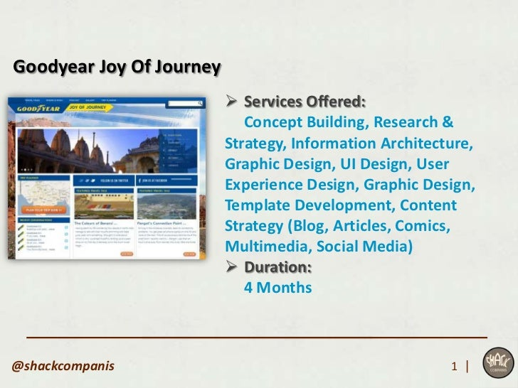 Goodyear Joy Of Journey                           Services Offered:                             Concept Building, Researc...