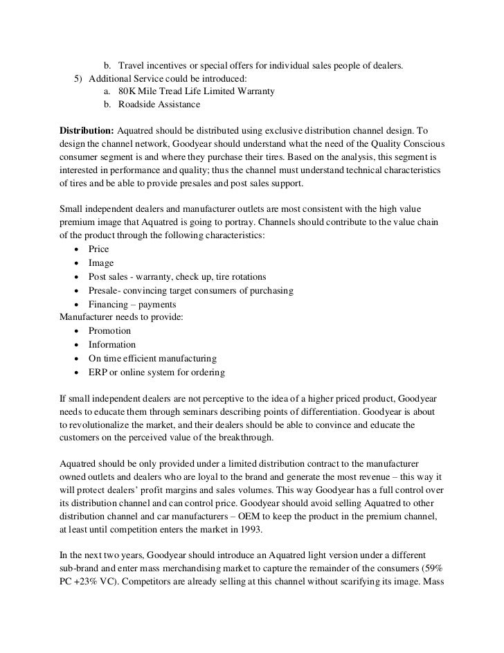 goodyear aquatred case study analysis