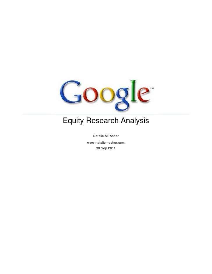 Equity Research Analysis         Natalie M. Asher      www.nataliemasher.com           30 Sep 2011