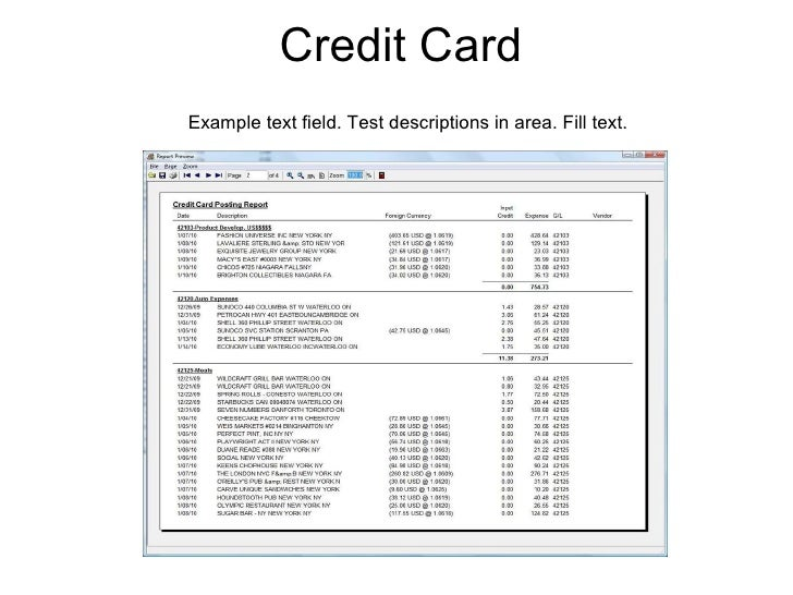 Credit Card Example text field. Test descriptions in area. Fill text.