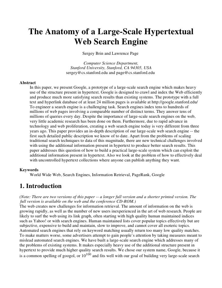 The Anatomy of a Large-Scale Hypertextual               Web Search Engine                                    Sergey Brin a...