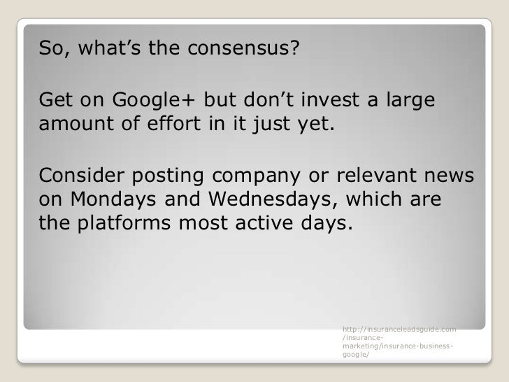 So, what's the consensus?Get on Google+ but don't invest a largeamount of effort in it just yet.Consider posting company o...