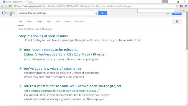 Google :The Interview Process