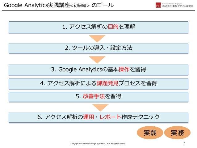 Google Analytics実践講座<初級編> のゴール 1. アクセス解析の目的を理解 4. アクセス解析による課題発見プロセスを習得 5. 改善手法を習得 3. Google Analyticsの基本操作を習得 2. ツールの導入・設定...