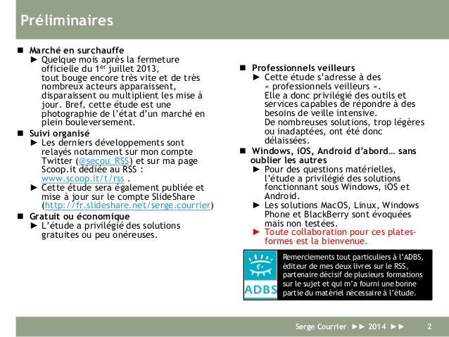 Lecteurs de fils RSS pour les professionnels - Etude comparative 2014 Slide 2