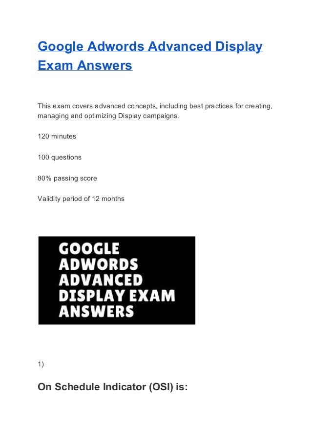 Adwords Display Certification Answers