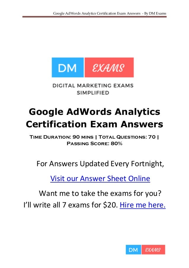 Google Analytics Certification Exam Answers