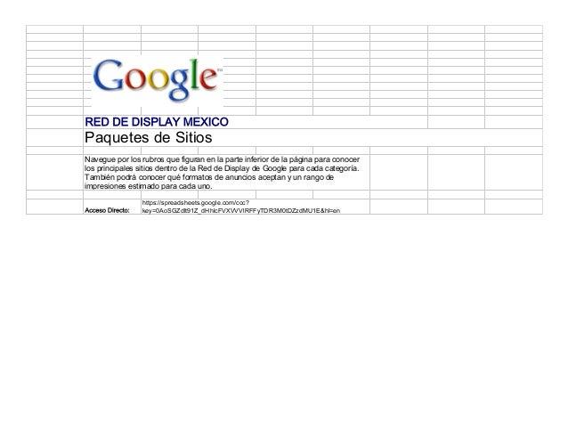 RED DE DISPLAY MEXICO Paquetes de Sitios Navegue por los rubros que figuran en la parte inferior de la página para conocer...