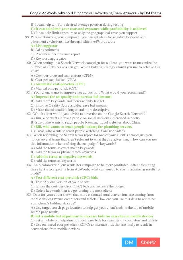 how to take google adwords exam