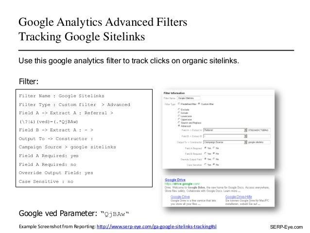 Google Analytics Advanced Filters - Tracking Google Sitelinks Slide 2