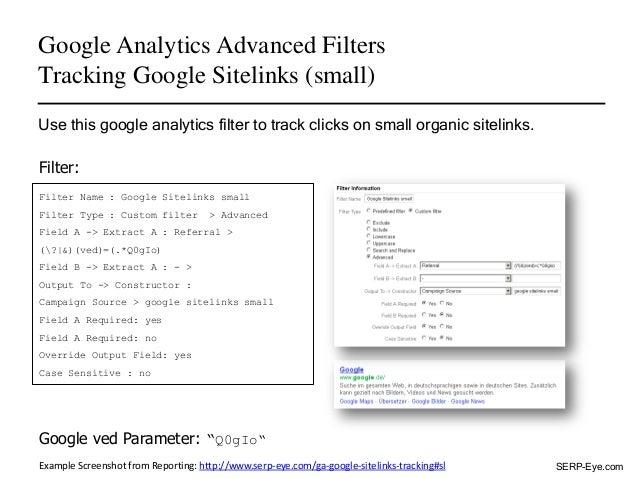 Google Analytics Advanced Filters - Tracking Google Sitelinks Slide 3