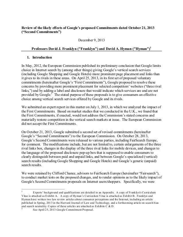 "Review of the likely effects of Google's proposed Commitments dated October 21, 2013 (""Second Commitments"") December 9, 20..."