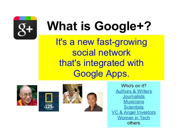 What is Google+? Its a new fast-growing      social network  thats integrated with       Google Apps.                   Wh...