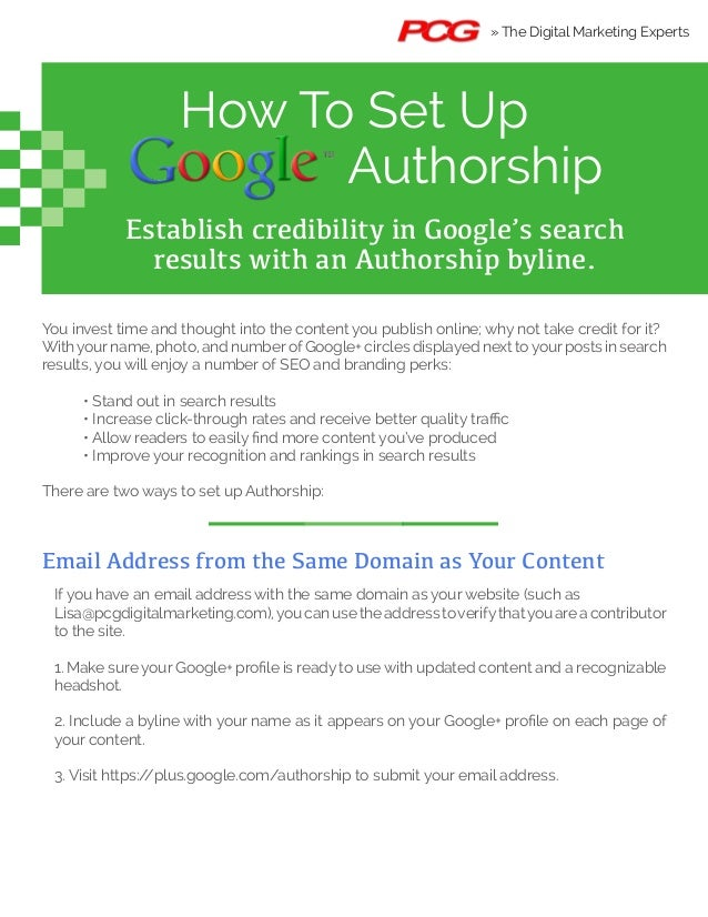 How To Set Up Authorship Establish credibility in Google's search results with an Authorship byline. You invest time and t...