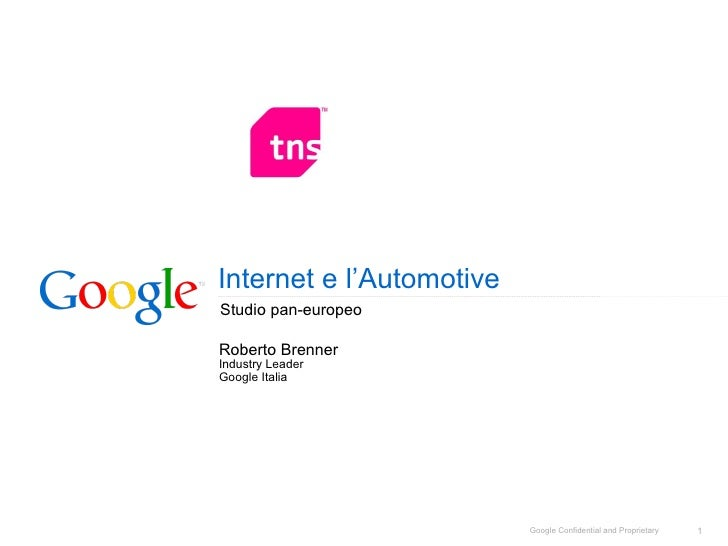 Internet e l'Automotive Studio pan-europeo Roberto Brenner Industry Leader  Google Italia