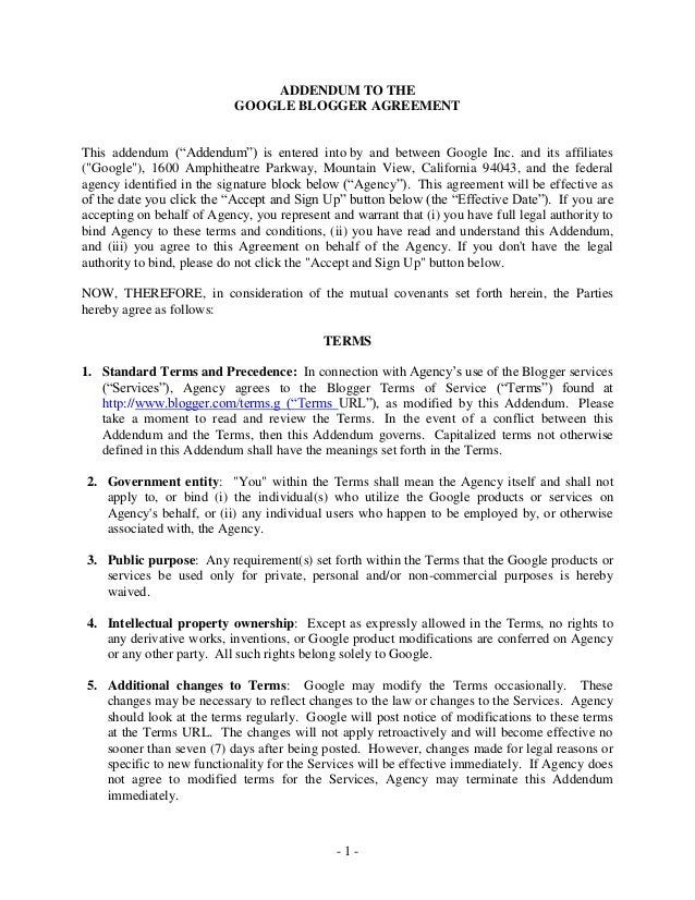 Addendum To The Google Blogger Agreement