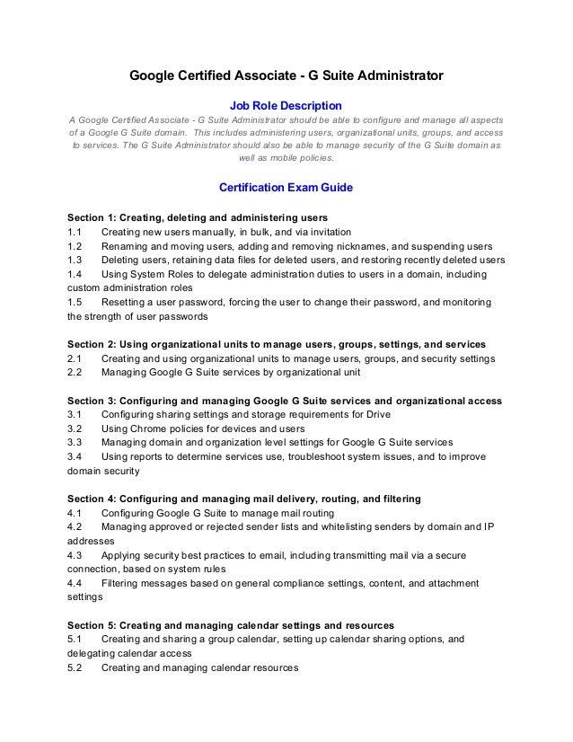 Google Certified Associate   G Suite Administrator Job Role Description A  Google Certified Associate   G ...
