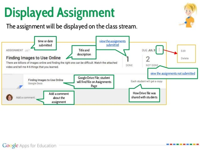 Displayed Assignment Google Drive File; student will find file on Assignments Page How Drive file was shared with students...