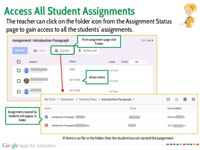 Access All Student Assignments From assignment page click Folder The teacher can click on the folder icon from the Assignm...