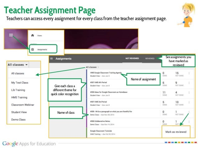 Teacher Assignment Page Teachers can access every assignment for every class from the teacher assignment page. Name of cla...